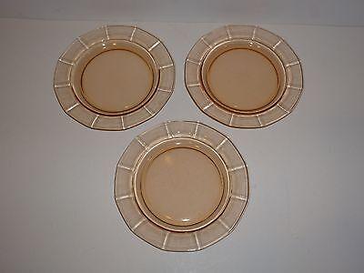 "Vintage Set 3 Fostoria Fairfax Amber Plates, 7-3/8"""