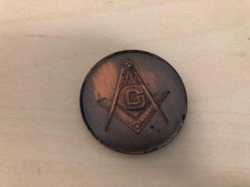 Old Vintage Freemason Mason Coin Brass Token Medal Entered F.C. Raised