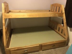 Double bottom single top bunk bed