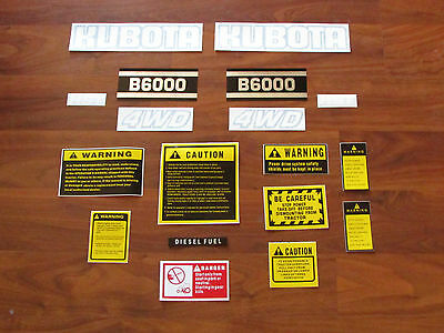 Kubota B6000 Decal Set With Caution Kit