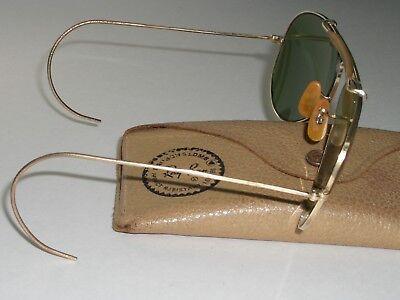 1960's VINTAGE B&L RAY BAN 12K-GF WRAPAROUNDS RB3 OUTDOORSMAN AVIATOR SUNGLASSES