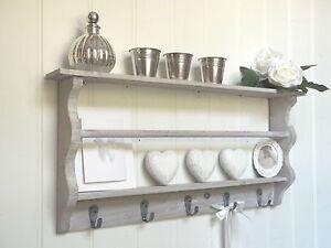 Shabby Chic Wall Unit Shelf Storage Cupboard Cabinet Hooks French Vintage Style