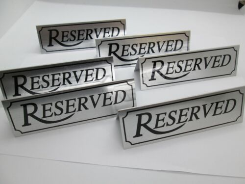 """Stainless Steel Reserved Table Sign for Restaurants 4.75"""" x 1.5"""" Set of 6"""
