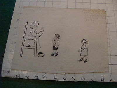 original MEIJER art: LADY SITTING, 2 CHILDREN and TEXT 1930's or 40's