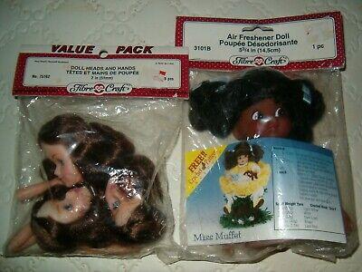 75162 Brown hair Blue Eyes NEW VTG NOS Fibre Crafts 2/'/' Doll Heads /& Hands No