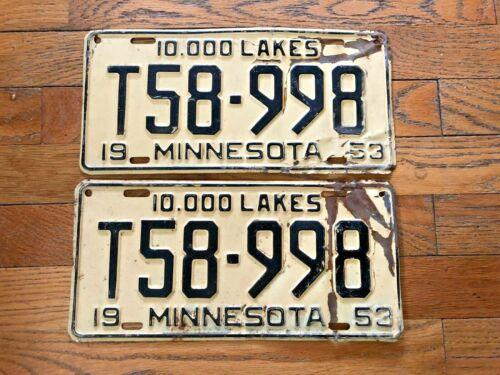 1953 Minnesota License Plate Pair