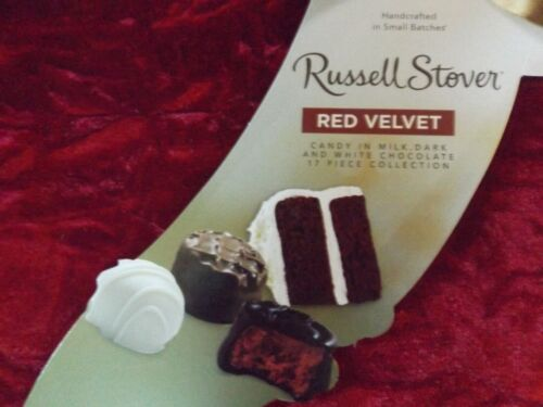 2 Russell Stover Red Velvet Chocolates in Milk Dark & White Chocolate Velvet Box