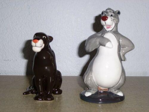2 Vintage Disney The Jungle Book Porcelain Figurines: Baloo & Bagheera Japan
