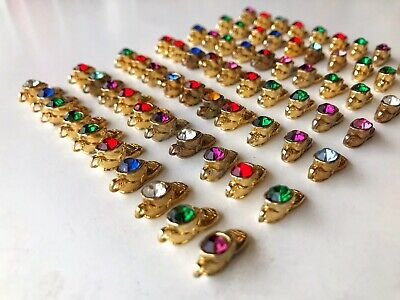 Lot of 70 GOLD PLATED Baby Shoe Boot Birthstone Crystal Charm Junk Drawer Find ()