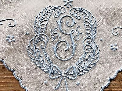 Vintage White Hankie Madeira Style Hand Embroidered Blue Monogram G Wedding Brid