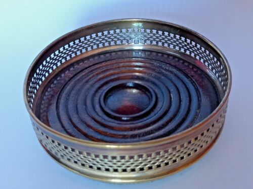 VINTAGE SILVER PLATED GALLERY WINE BOTTLE COASTER WITH WOODEN BASE