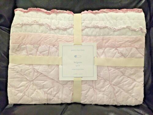 NEW Pottery Barn Kids Brigette Ruffle Crib Toddler Quilt, Stripes, Pink/White