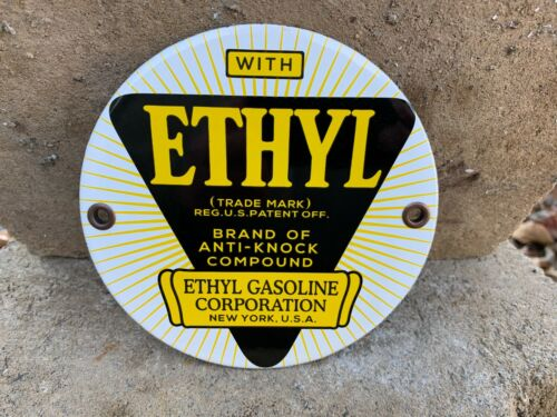 """""""ETHYL GASOLINE"""" HEAVY PORCELAIN SIGN, (5"""" INCH ROUND) MINT CONDITION"""