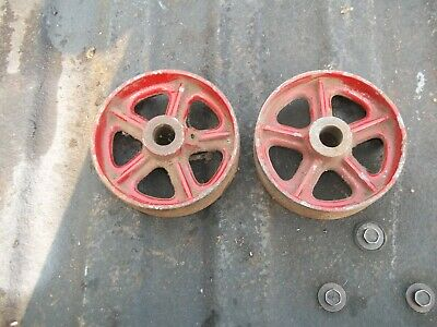 2 Cast Iron Antique Hit And Miss Gas Engine Cart Wheels Used
