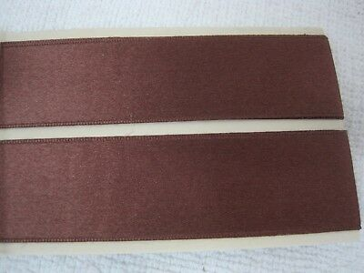 Chocolate Brown Satin Ribbon - 2 1/2 Yards Chocolate Brown SILK Satin Double Face Ribbon 1