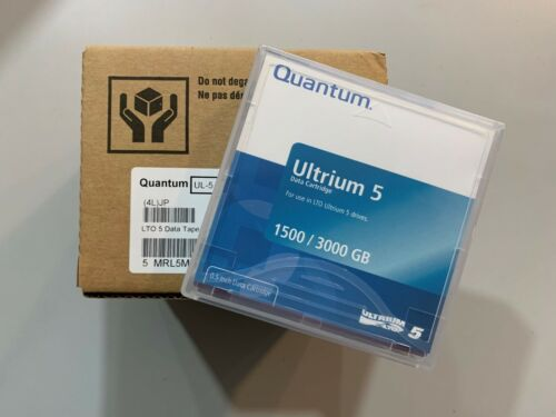 NEW- Quantum LTO-5 Ultrium (5 PACK) Data Storage Tape Cartridge MR-L5MQN-01