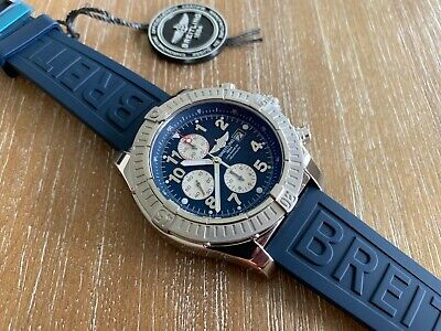 PRE-OWNED BREITLING SUPER AVENGER BLUE DIAL BLUE RUBBER STRAP WATCH A13370