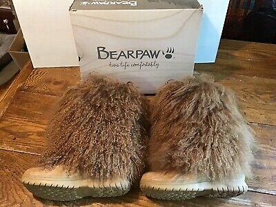 WOMENS BEARPAW BOETIS Boots Size 12 Lamb Sheepskin Winter Snow Brown Furry New