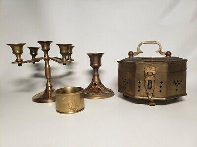 Vintage India Brass LOT~ candlestick holders, cricket / trinket box, napkin ring