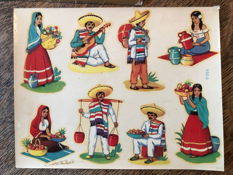 Vintage Meyercord Decals, Mexican Theme 8 Decals