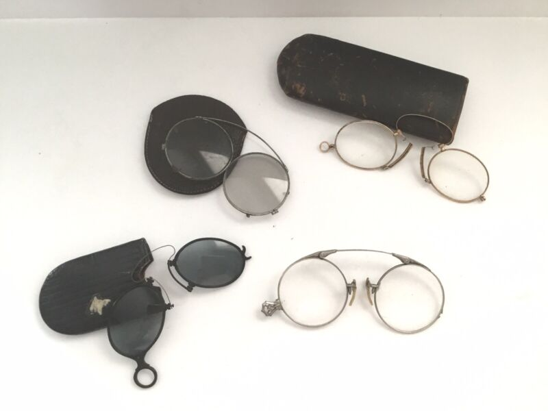 LOT OF 6 ANTIQUE WIRE FRAME PINCE NEZ EYEGLASSES SPECTACLES AND CASES