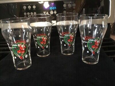 Set of 4 ~ Coca-Cola Coke 1996 Christmas Glasses ~ Santa With Train Excellent!