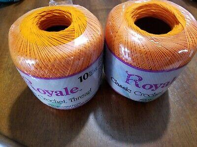 2 Royale Classic Crochet Thread 100% Cotton-Size 10-Color Pumpkin-350 Yards Each Classic Crochet Cotton Thread