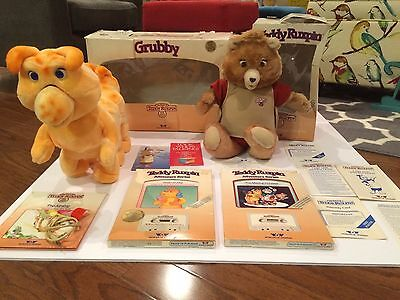 Original 1985 Teddy Ruxpin & Grubby Animated Bear & Worm Rare