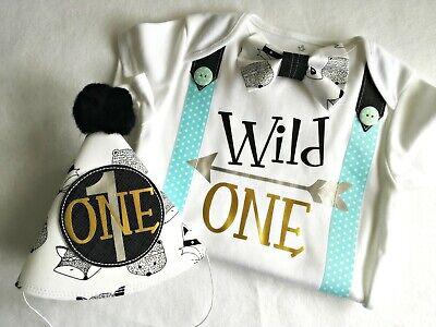 Wild One Tribal Theme 1st Birthday Boy Bow Tie Bodysuit with Party Hat. - First Birthday Boy Themes