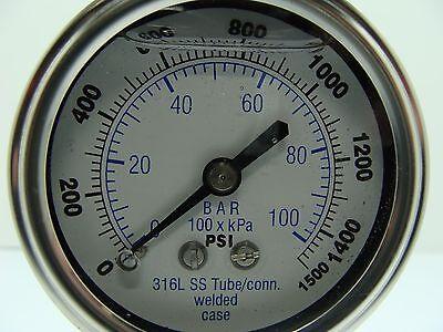 301lfw-254n 2.5 Glycerin Filled Ss 316 Internals Gauge 14 Npt Lm 01500 Psi