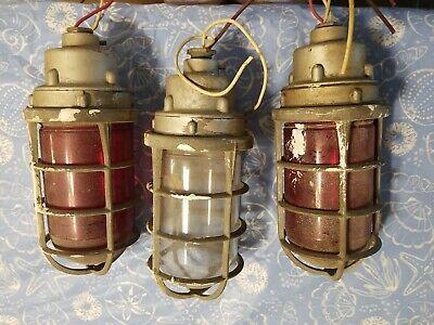 Vtg. Lot Of 3 Killark Vag-100 Explosion Proof Cage Light Fixtures