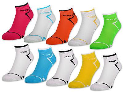 6 oder 12 Paar NEON Sport Sneaker Socken Damensocken verstärkte Frotteesohle