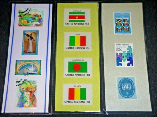 3 BOOKMARKS ~UNITED NATIONS Laminated POSTAGE STAMPS~COLORFUL FLAGS