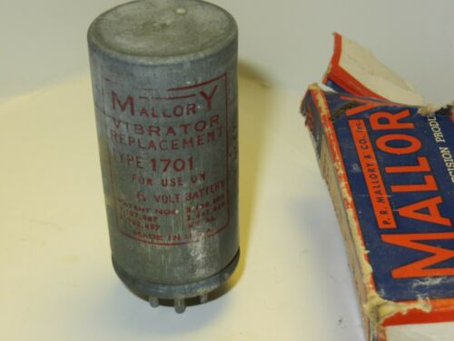 1  NOS Mallory 1701, 6 Volt Replacement Vibrator, NOS