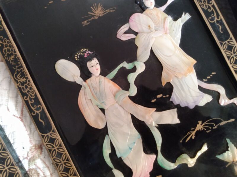 "Antique Set 4 Chinese Mother of Pearl Wall Panels Great scenes 37""X12"""