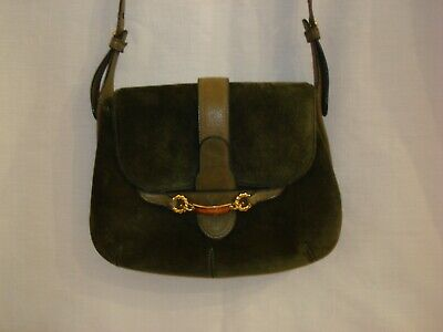 AUTHENTIC VTG 1970'S GUCCI SUEDE LEATHER OLIVE GREEN SHOULDER BAG PURSE & MORE