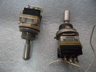 2x Aircraft Cockpit Eaton Ms90311-731 Miniature Toggle Switch 8869k4x On-none-on
