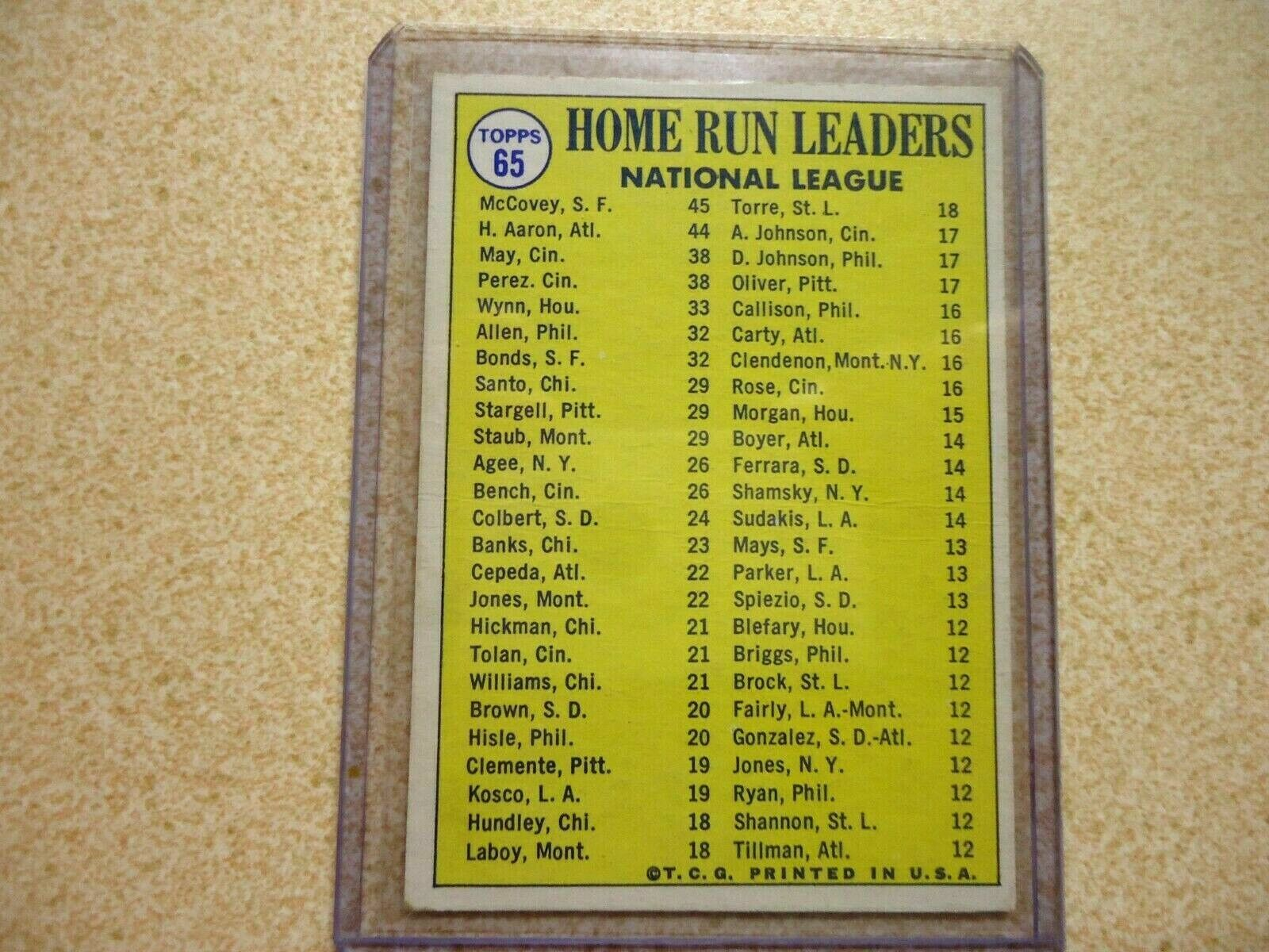 1970 TOPPS 1969 HOME RUN LEADERSS HANK AARON, WLLIE MCCOVEY AND LEE MAY NMT-MT  - $20.00