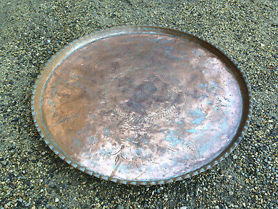 Antique Large Tray in Copper Service Object Ethnic Art African Maghreb