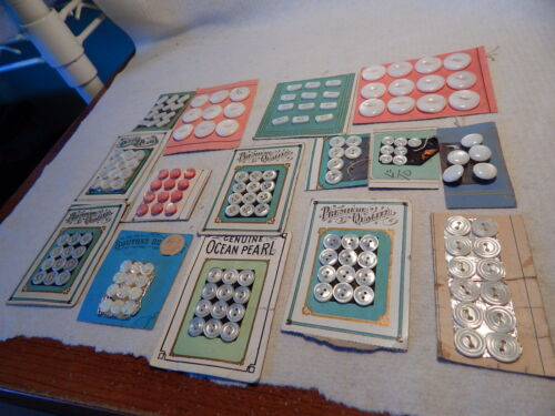 VTG 30S MINIATURE BUTTONS ON CARDS LOT 15 GENUINE OCEAN PEARL ROUND OVAL SEWING