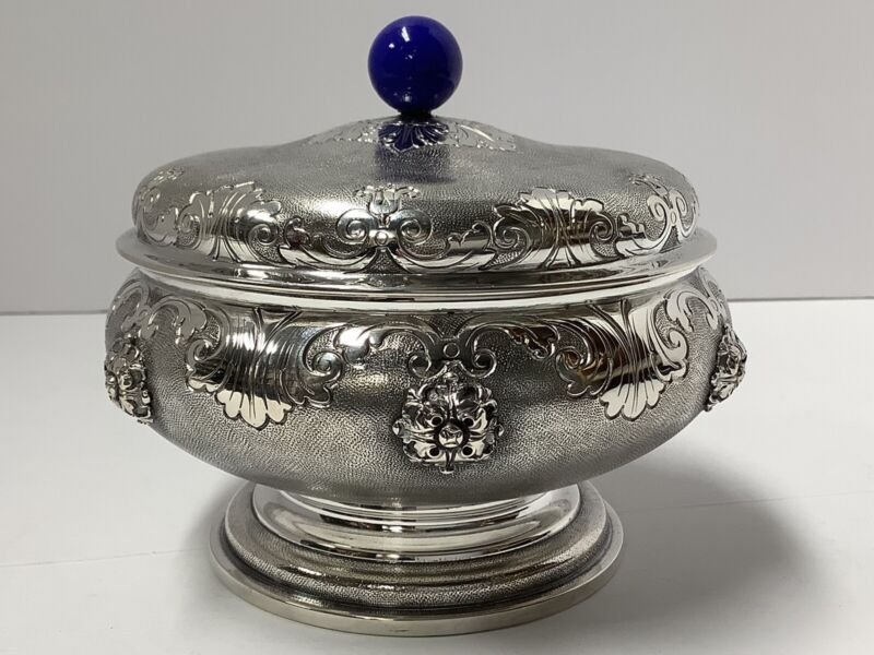 mario buccellati 800 Silver Box. Lapis Lazuli Finial. Milano Roma. Antique