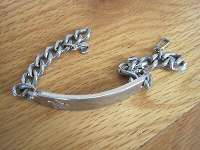 BSA Boy Scout Nickel Silver Name Bracelet Engraved Vintage