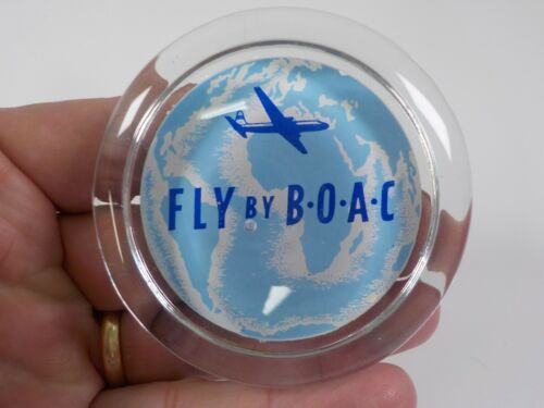 BOAC Vintage Glass Advertising Paperweight Fly By BOAC Good Condition