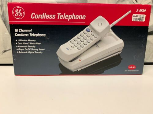 New Vintage GE 2-9530 Cordless Telephone W/ Flexible Antenna 10 Number Memory