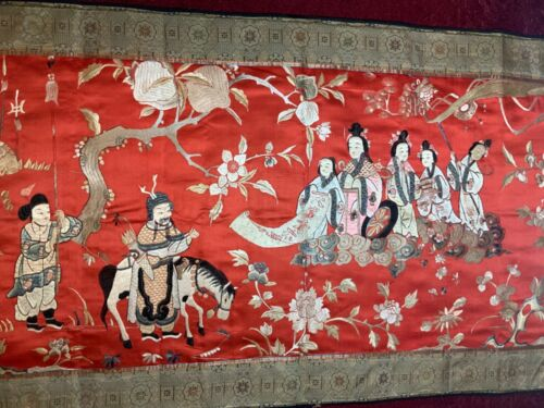 ANTIQUE EARLY/ MID- 20th c CHINESE EMBROIDERED PANEL, FINE EMBROIDERY 155 X 70cm