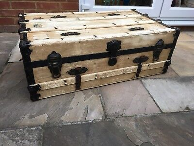 Vintage Trunk American Wooden Coffee Table Storage Suitcase Restoration Antique