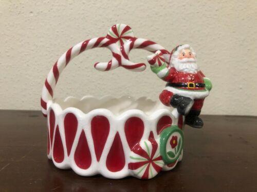 Fitz & Floyd Peppermint Santa Basket Candy Cane Santa
