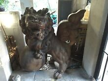 ANTIQUE CHINESE FOO DOG WOODEN STATUE Clontarf Manly Area Preview