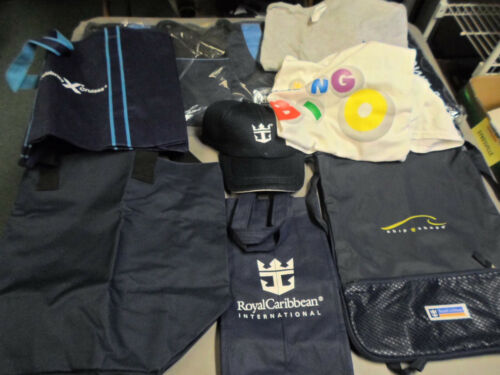 PICTURED LOT OF 9 ROYAL CARIBBEAN LOGO ITEMS.  BAGS, CAP, TOWEL, SHIRTS
