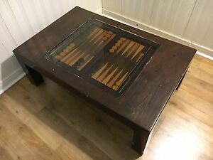 Coffee table with built-backgammon board